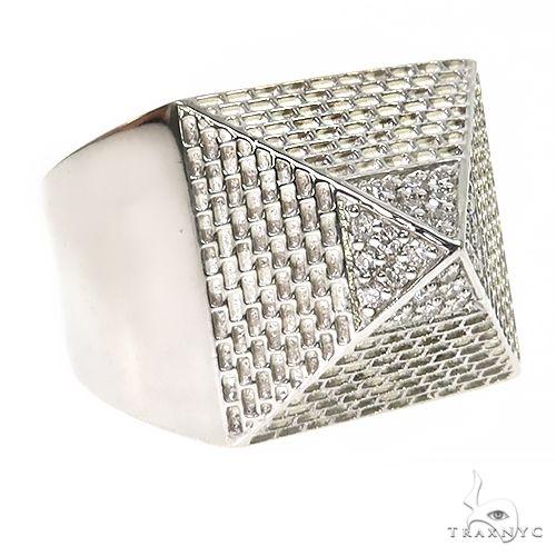 .925 Silver Pyramid Diamond Ring 67419 Metal