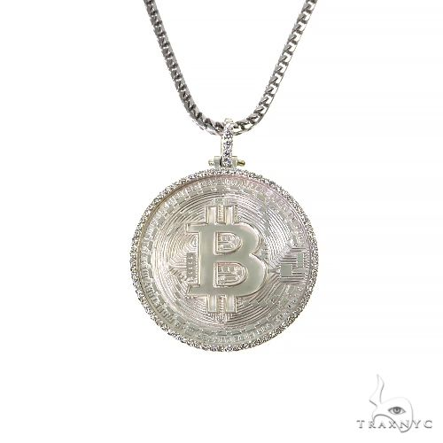 .925 Silver Diamond Bitcoin Pendant Set 67421 Style
