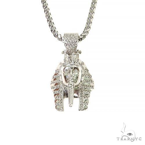.925 Silver Diamond Pharaoh King Tut Pendant Set 67422 Metal