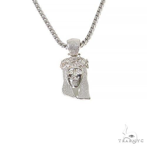 .925 Silver Diamond Jesus Pendant Set 67423 Style