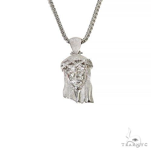 .925 Silver Diamond Jesus Pendant Set 67424 Style