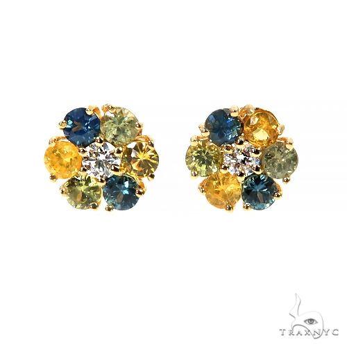 Mini BYG Sapphire Diamond  Flower Earrings 67429 Style
