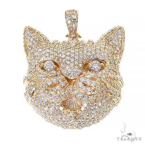 Custom Made 3D Diamond Cat Pendant 67441 Metal