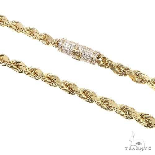 14K Gold Diamond Cut Rope Chain With Custom Made TraxNYC Diamond Logo Lock 20 Inches 7mm 110.0 Gr 67456 Diamond