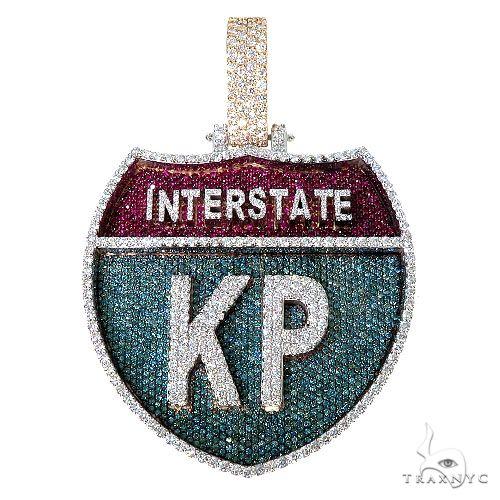 Custom Made InterState Diamond 'KP' Pendant 67467 Metal