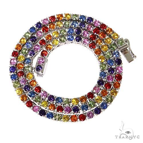 Rainbow Sapphire Tennis Chain 67477 Gold