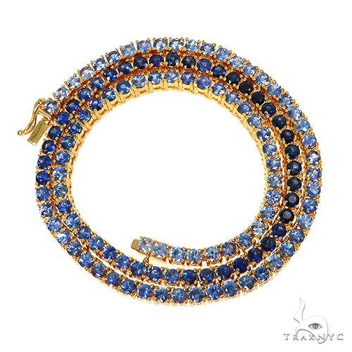 20 Pointer Blue Graduated Sapphire Tennis Chain 67479 Gold