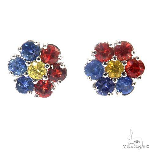 Philippines Flag Sapphire Flower Earrings 67481 Multicolor SAPPHIRE