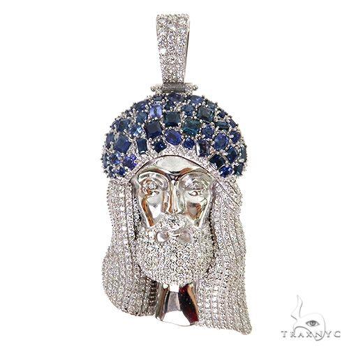 Living Water Jesus Sapphire Crown Diamond Pendant 67492 Style