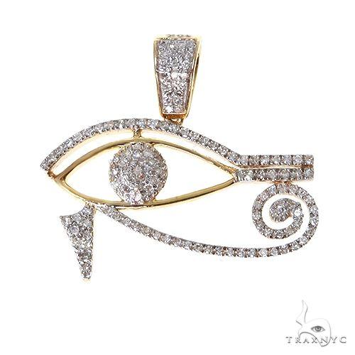 10K Gold Micro Pave Diamond Egyptian Bedouin Evil Eye Charm Pendant 63620 Metal