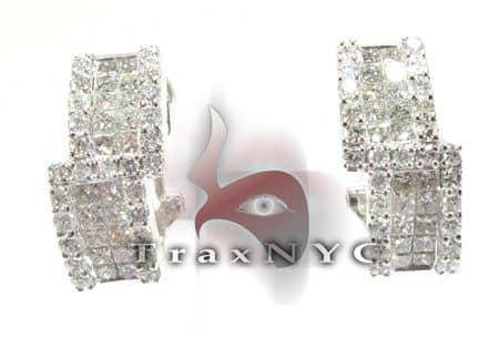 Ladies Steps Diamond Earrings Stone