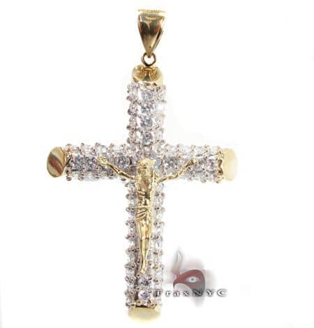 CZ Cross Crucifix Pendant 3 Gold