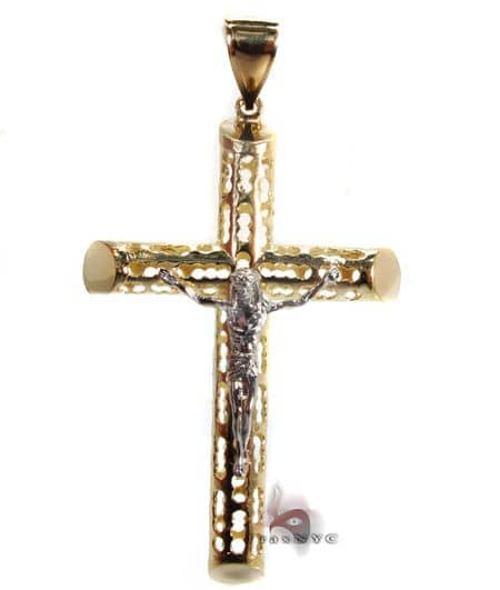 Gold Cross Crucifix Pendant 3 Gold