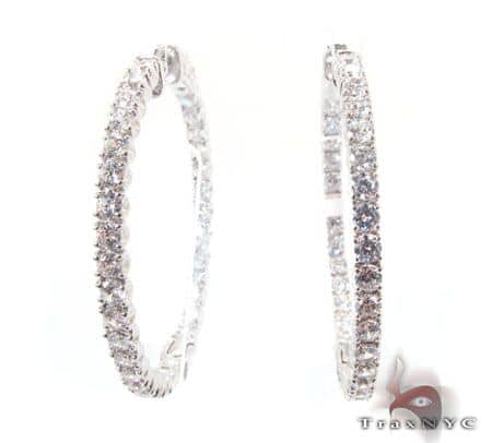 Sterling Silver Hoop Earrings with nice CZ Cubic Zirconia Metal