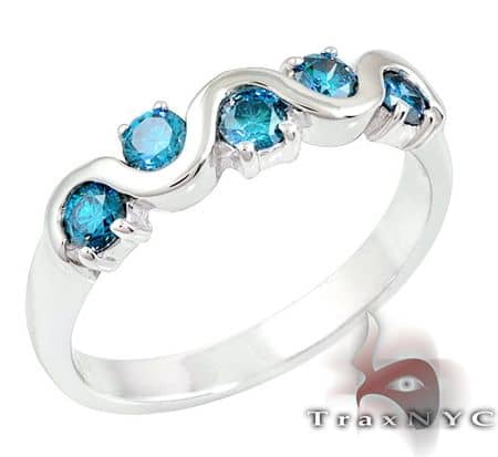 Ladies Blue Tiara Ring 2 Anniversary/Fashion
