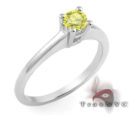 Ladies Yellow Solitaire Ring Anniversary/Fashion