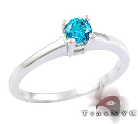 Ladies Blue Solitaire Ring Anniversary/Fashion