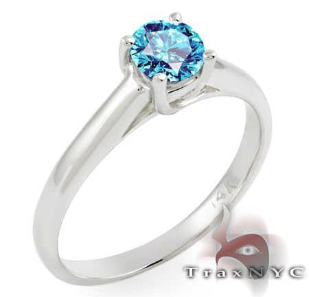 Ladies Sea Blue Solitaire Ring Anniversary/Fashion