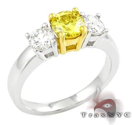 Two Tone Canary Centered Ring 2 Anniversary/Fashion
