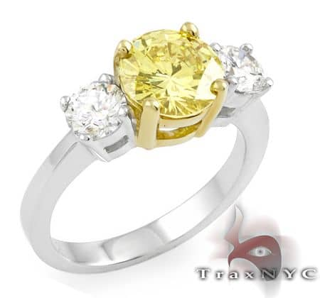 Two Tone Canary Centered Ring Anniversary/Fashion