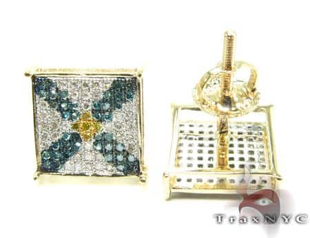 Blue Cross Crucifix Prong Earrings Stone