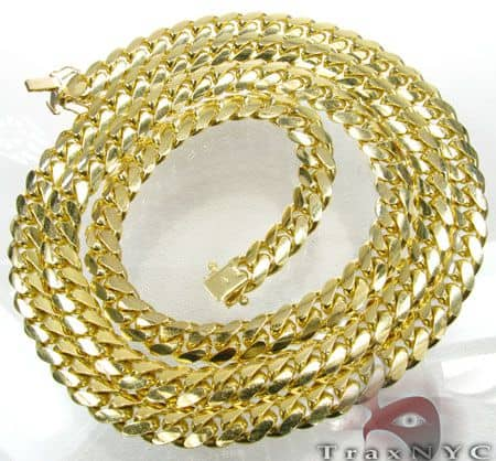 10k Solid Yellow Gold Miami Chain 24 Inches 5mm 80.3 Grams 10294 Gold