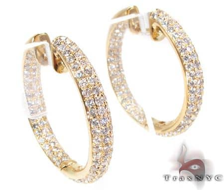 YG Three Row Medium Hoops Stone