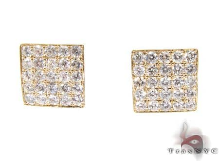 YG Five Row Spec Earrings Stone