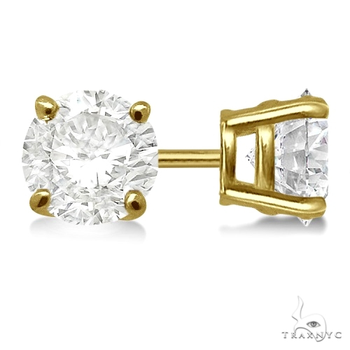 4.00ct. 4-Prong Basket Diamond Stud Earrings 18kt Yellow Gold G-H, VS2-SI1 Stone
