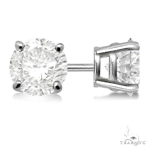 4.00ct. 4-Prong Basket Diamond Stud Earrings Palladium G-H, VS2-SI1 Stone