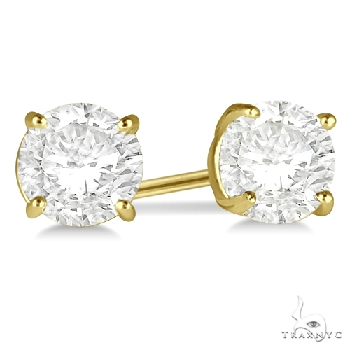 4.00ct. 4-Prong Basket Diamond Stud Earrings 14kt Yellow Gold H, SI1-SI2 Stone