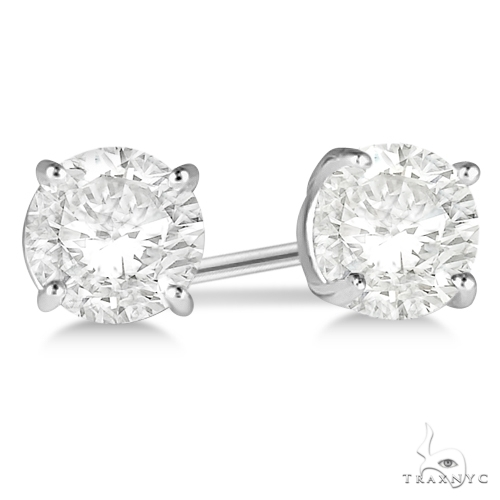 4.00ct. 4-Prong Basket Diamond Stud Earrings 18kt White Gold H-I, SI2-SI3 Stone