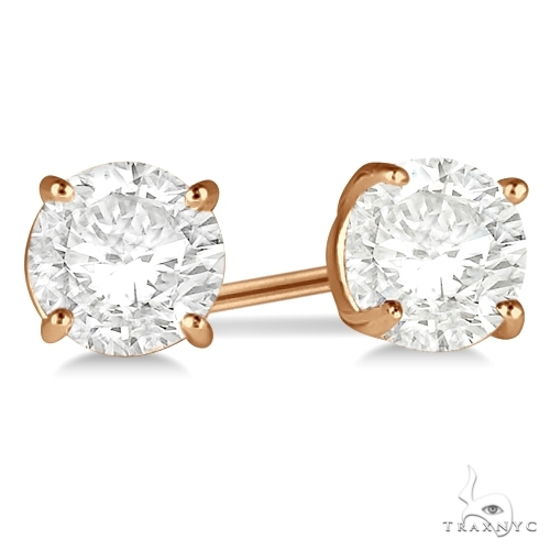 4.00ct. 4-Prong Basket Diamond Stud Earrings 18kt Rose Gold H-I, SI2-SI3 Stone