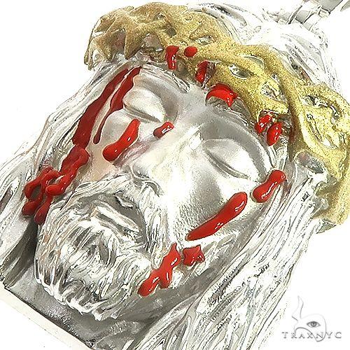 .925 Silver Blood Dripping Jesus Face Pendant 66483 Metal