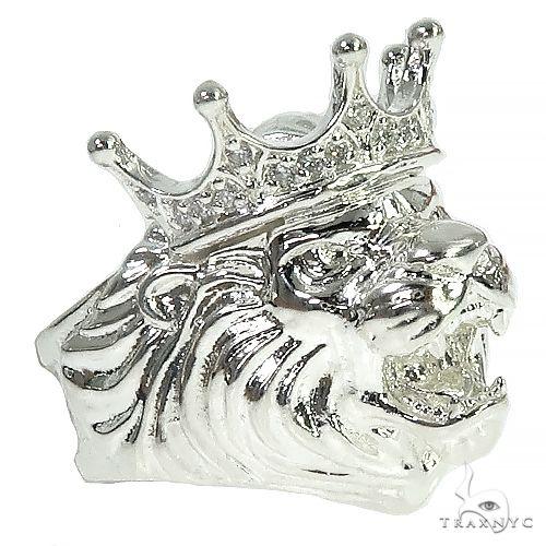 .925 Silver Lion King Diamond Ring 66462 Stone