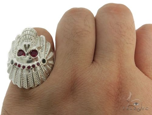 .925 Sterling Silver Black Diamond Indian Skull Ring With Red Ruby Stones 61446 Stone