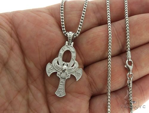 .925 Sterling Silver TraxNYC's Mystique Ankh Cross Crucifix Franco Chain S Metal