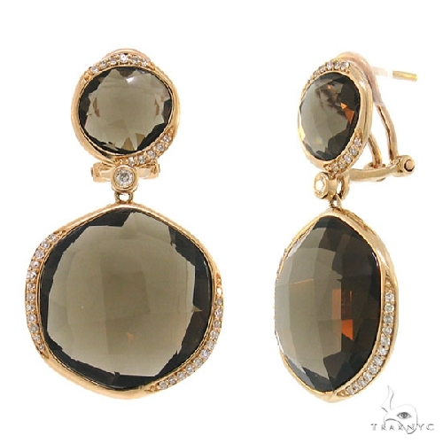 Diamond and 31.28ct Smokey Topaz 14k Rose Gold Earrings Stone