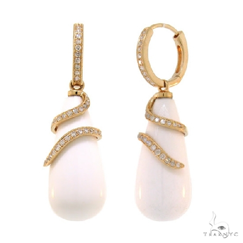 Diamond and 36.88ct White Agate 14k Rose Gold Earrings Stone