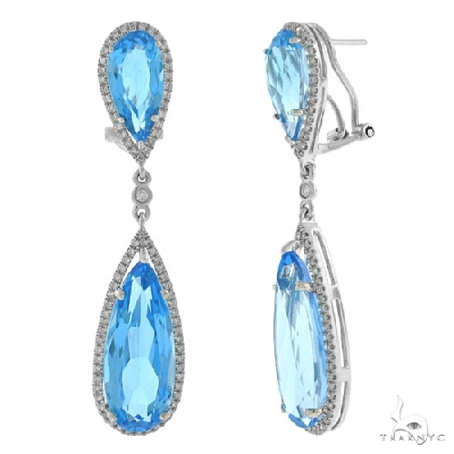Diamond and 25.66ct Blue Topaz 14k White Gold Earrings Stone