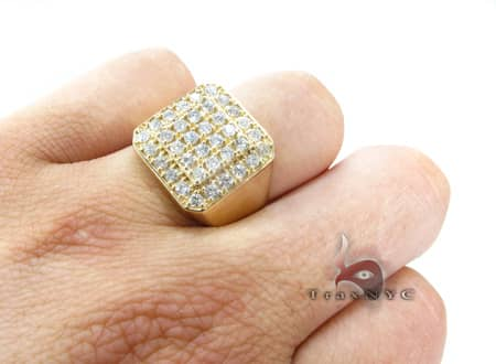 Mens Light 10k Yellow Gold Pinky Ring Stone
