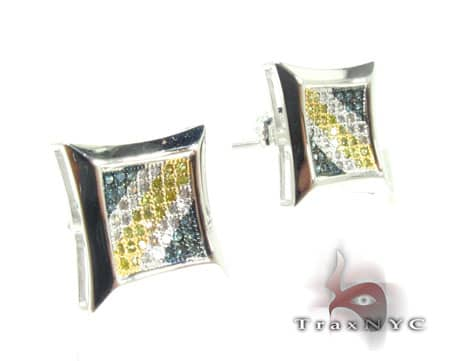 Tri Color SQ Earrings Stone