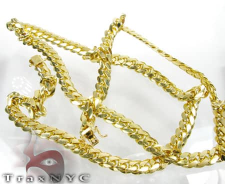 10k Solid Yellow Gold Miami Chain 4mm 30 Inches Gold