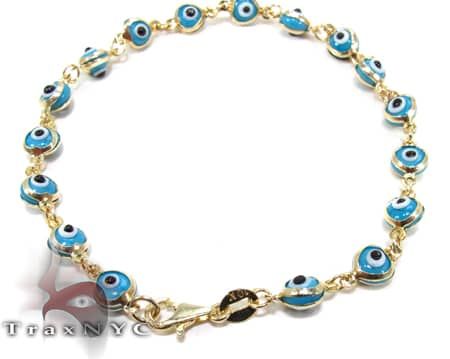 Blue Clair Evel Eye Bracelet Gold