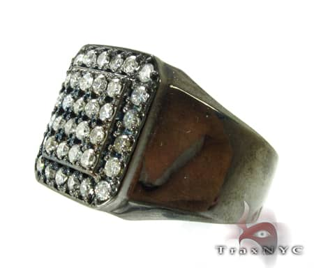 Mens Demanding 14K Black Rhodium Pinky Ring Stone