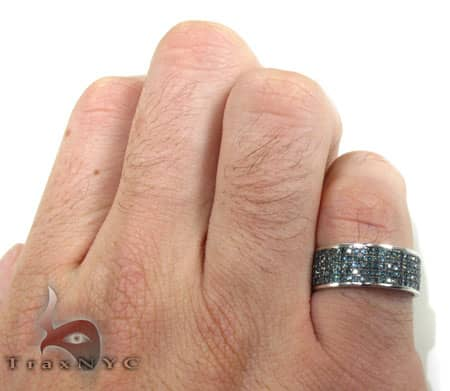 5 Row Blue Diamond Ring Anniversary/Fashion