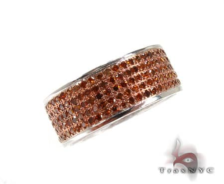 5 Row Red Diamond Ring Anniversary/Fashion