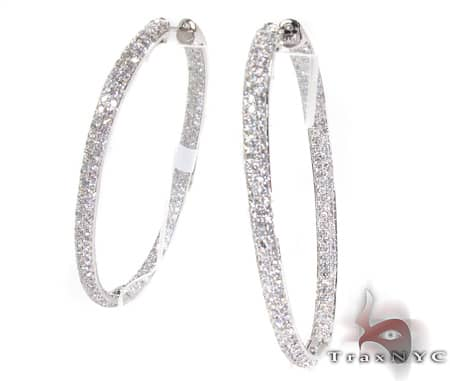 WG Iced Oval Hoop Earrings Stone
