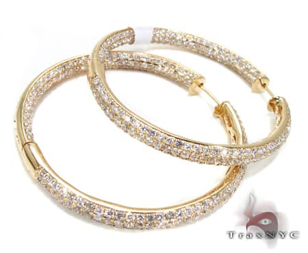 YG Three Row Diamond Hoops Stone
