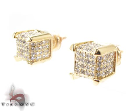 YG Tiny Cube Earrings Stone